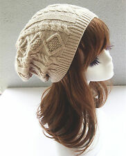 Women Warm thermal Knit Ski Beanies Skull Wrap Rasta Beret Hats Beanie Cap