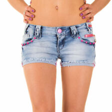 NEU  DAMEN m15o SIMPLY CHIC USED HOT PANTS JEANS SHORTS Blau