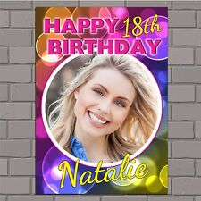 Personalised 18th 21st 30th 40th 50th Happy Birthday Poster Banner N45 ANY AGE
