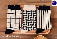 1Pair Women Girls Cotton Retro Black White Check Warm Fashion Short shoes Socks