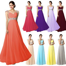 Chiffon Long Formal Wedding Party Bridesmaid Dresses Plus Size Prom Bridal Gowns