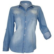 Jeansbluse 34 36 38 40 bleached used Jeanshemd Nieten Bluse