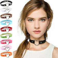Women Gothic Punk Rock Heart Ring Rivet Collar Choker Handmade Funky Necklace