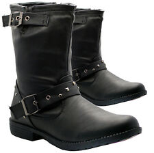 Ladies Flat Boots Womens Size Ankle Biker Riding Combat Army Winter Shoes Zip