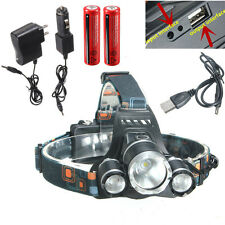 8000Lm 3x XM-L2 T6 LED Headlamp Headlight frontale bici lampada+USB Cable