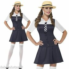 Adult Sexy School Girl Uniform Fancy Dress Costume and Hat Smiffys Size 4-16