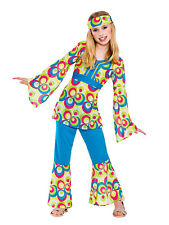 60s 70s Fancy Dress Costume Flower Power Hippy Hippie Retro GoGo Kids Girls 5-13