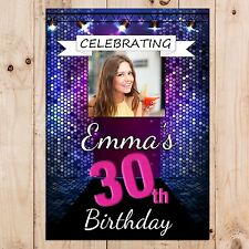 Personalised 18th 21st 30th 40th 50th 60 Happy Birthday PHOTO Poster Banner N56