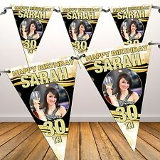 Personalised 18 21st 30 40 50 60th Happy Birthday PHOTO Flag Banner Bunting N51