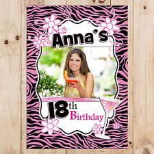 Personalised 18th 21st 30th 40th 50th Birthday Party PHOTO Banner N24- ANY AGE