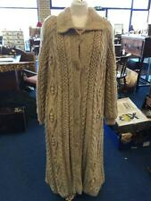 Stunning Hand Knitted Long Wool Coat Cable Knit With Lining Size 12 Aran Wool