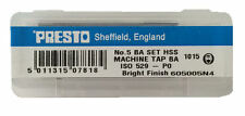Presto UK 5BA Taps and Dies HSS First, second, plug / Direct from RDGTools