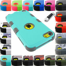 APPLE IPOD TOUCH 5 6 GEN SHOCK PROOF TUFF RUGGED CASE PROTECTIVE COVER+STYLUS