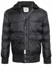 D-STRUCT MENS COAT QUILTED FUR COLLAR PADDED WINTER RIBBED JACKET