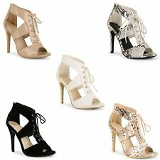 Ladies Womens High Heels Stiletto Lace Up Gladiator Ankle Sandals Peep Toe Shoes