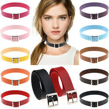 Women Gothic Punk Rock Belt Buckle Collar Choker Handmade Funky Necklace