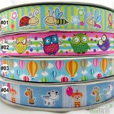 "2Yard 10Yard 100Yard Cartoon Bees/Owl Spring Grosgrain Ribbon Craft 22mm(7/8"")"