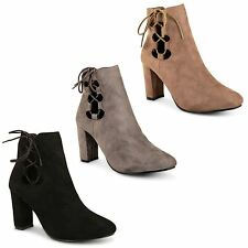 New Ladies Womens High Block Heel Lace Up Winter Chelsea Ankle Boots Shoes Size