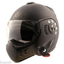 Casque convertible ROOF Boxer V8 Full black RO5 integral jet moto route helmet