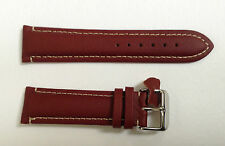 PADDED LEATHER WHITE STITCHING WATCH STRAP RED-BROWN 22MM - BREITLING / HAMILTON
