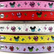 "5Yard 25Yard Mixed Micky Cartoon Grosgrain Ribbon Craft 9mm(3/8"") Hair Bow"