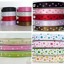 "5Yard 25Yard Dots Satin Grosgrain Ribbon Craft 9mm16mm22mm(3/8""5/8""7/8"")"