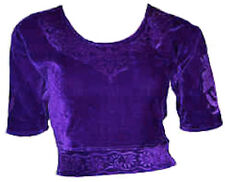 Violet Velours Top Choli pour Sari Style Bollywood Taille S à 3XL