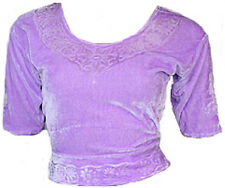 Lilas Velours Top Choli pour Sari Style Bollywood Taille S à 3XL