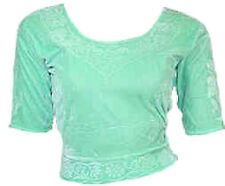 Vert lime Velours Top Choli pour Sari Style Bollywood Taille S à 3XL