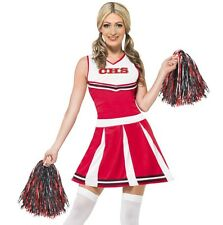 Donna Cheerleader Costume & PON PON Womens Red Vestito Da Smiffys