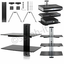 2/3 Floating Glass Double /Triple Tier Shelves DVD TV Wall Mount Bracket SKY BOX