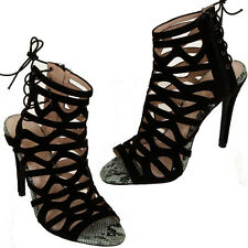 Ladies Faux Suede Peep Toe Snake Skin Lace Up Cut Out Stiletto Sandal Heels
