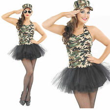 Ladies Commando Tutu Girl Fancy Dress Costume Camo Army Outfit Womens UK 8-30