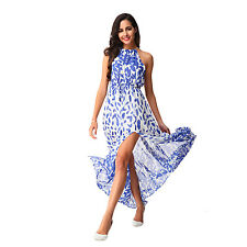 Women Sexy Boho Long Maxi Halter Sleeveless Dress Summer Beach Party Sundress