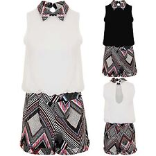 Ladies Peter Pan Collar Chiffon Lined Aztec Contrast All In One Playsuit Romper