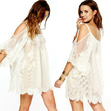 White Lace Tunic Dress Bohemian Boho Hippie Festival Beach Spring Summer Coverup