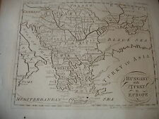 GREECE, TURKEY IN EUROPE,HUNGARY-antique map:18thC,GEORGIAN BY MR BELL of LONDON
