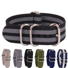 Ring Buckle Solid Color Black Grey 18mm Nylon Watch Strap Wristwatch Band