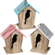 WOOD BIRD HOUSE FEEDER WILD NEST HOME STATION HANGING BIRDS NESTING SMALL NEW