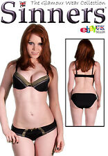 GREEN CONTEMPORARY STRIPE SILKY UNDERWIRE BRA SET (FF1003)