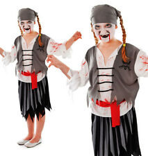 Childrens Kids Zombie Pirate Girl Fancy Dress Costume Halloween Outfit 3-10 Yrs