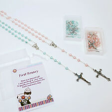 Childs Babys Glass Heart Beads FIRST ROSARY Beads Christening Baptism Gift Box