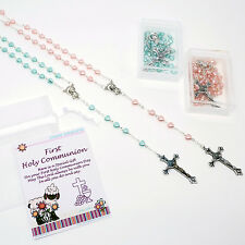 Childs Glass Heart Rosary Beads First Communion Gift Box Pale Pink or Turquoise