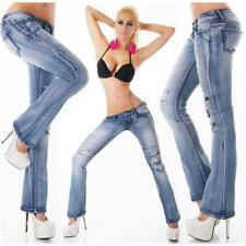 SEXY 5-POCKET DESTROYED BOOTCUT JEANS IM USED-LOOK BLAU #H1264