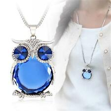 Fashion Rhinestone Plated Glass Owl Pendant Long Sweater Chain Necklace Jewelry