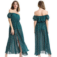 Women Sexy Fashion Sundress Summer Beach Off-shoulder Chiffon Maxi Long Dress