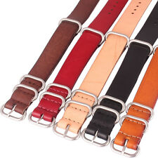 Ring Buckle 20mm Real Leather Solid Black Brown Watch Strap Wristwatch Band