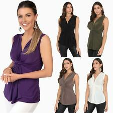Womens Sleeveless Silky Knot Front Plunge V Neck Blouse Ruched Vest Top Party