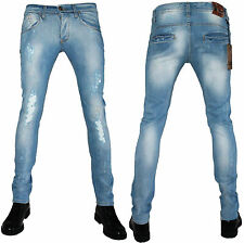 Jeans Uomo KLIXS ART 0154/F Denim Strappato Slim Fit  42 44 46 48 50 52 54