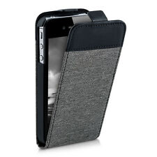 kwmobile FLIP CASE STYLE HÜLLE FÜR APPLE IPHONE 4 4S STOFF CANVAS LEDER-IMITAT